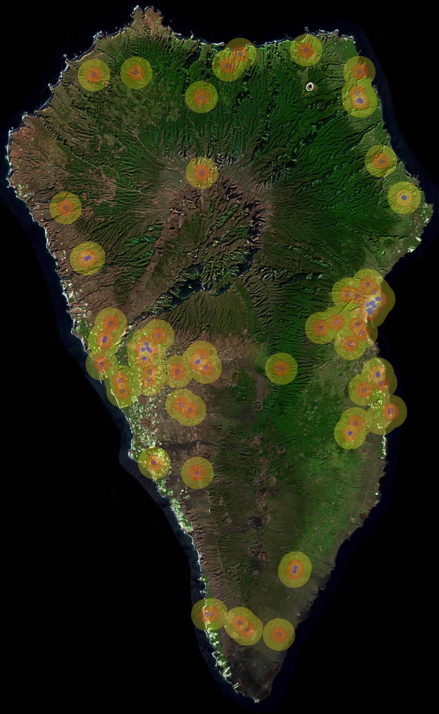 situación de estaciones base de telefonía móvil en La Palma